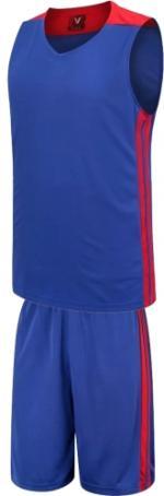 Екип за баскетбол, потник с шорти - син с червено