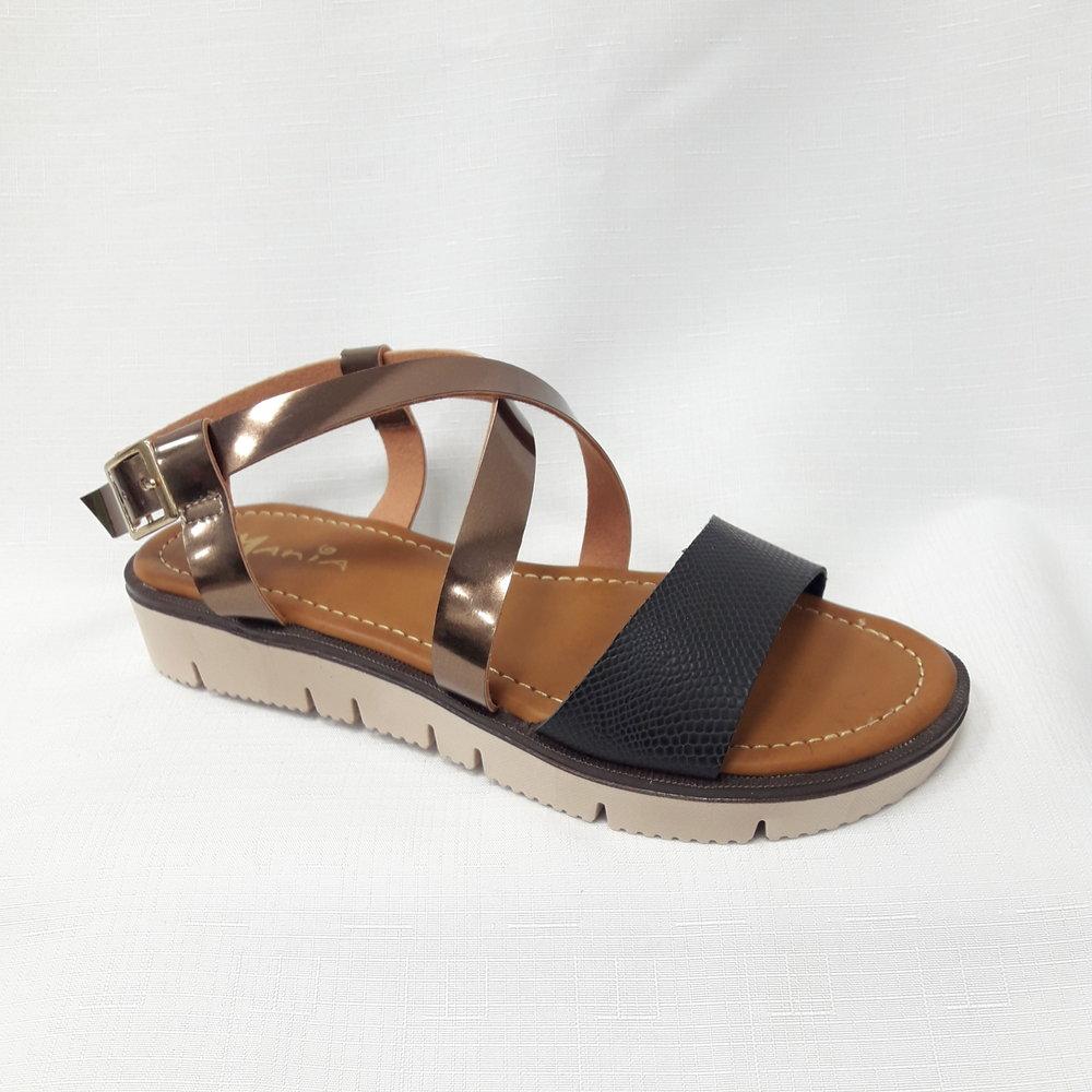 Черни  дамски сандали от естествена кожа