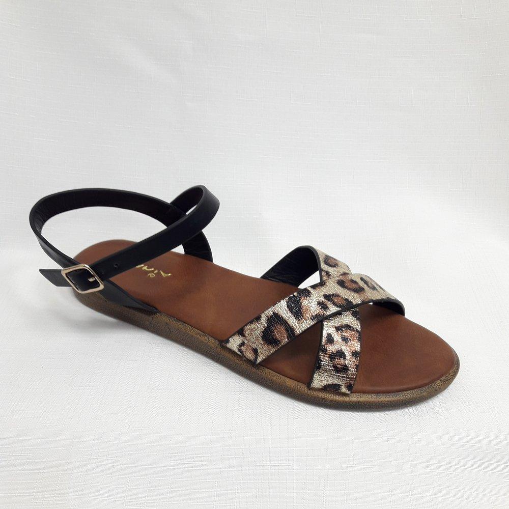Черни леопардови дамски сандали от естествена кожа
