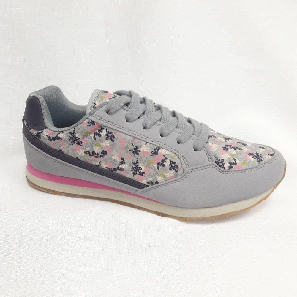 Сиви дамски маратонки на цветя.