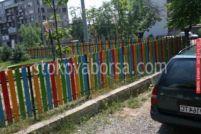 Дървена ограда за обществени градинки от разнообразен дървен материал